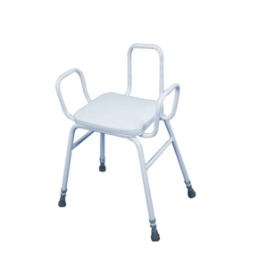 Percing stool with back and arms.