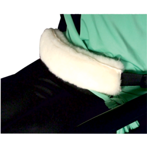Wheelchair lap strap fleece cover.