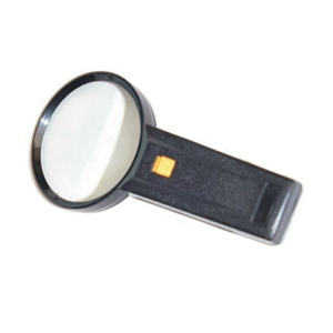 Magnifying glass with light.