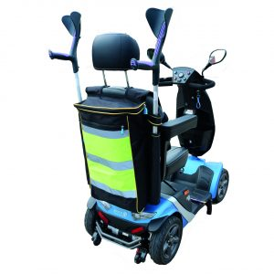 High Visibility mobility scooter bag with crutch holder
