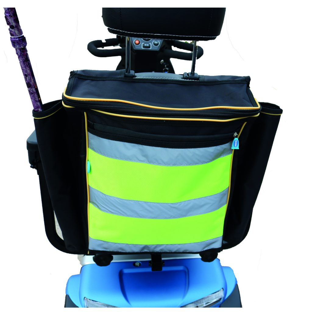 High visibility mobility scooter bag with stick holder